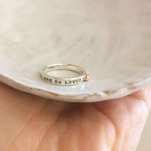 'So Loved' Silver Ring With Gold Detail - new in wedding styling