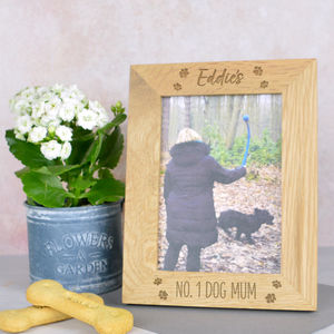 Dog Mum Personalised Solid Oak Photo Frame