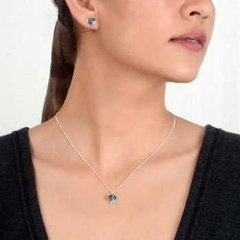 Sterling Silver Heart Stud Earrings And Necklace Set