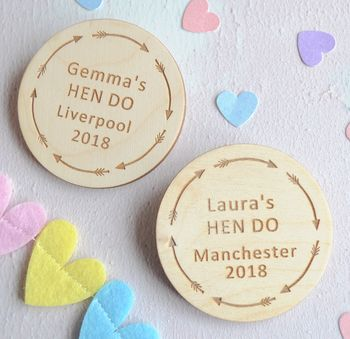 Personalised Hen Party Arrow Badges