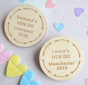 Personalised Hen Party Arrow Badges - personalised jewellery