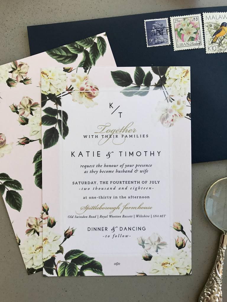 Botanical Rose Wedding Invitation Stationery botanical rose
