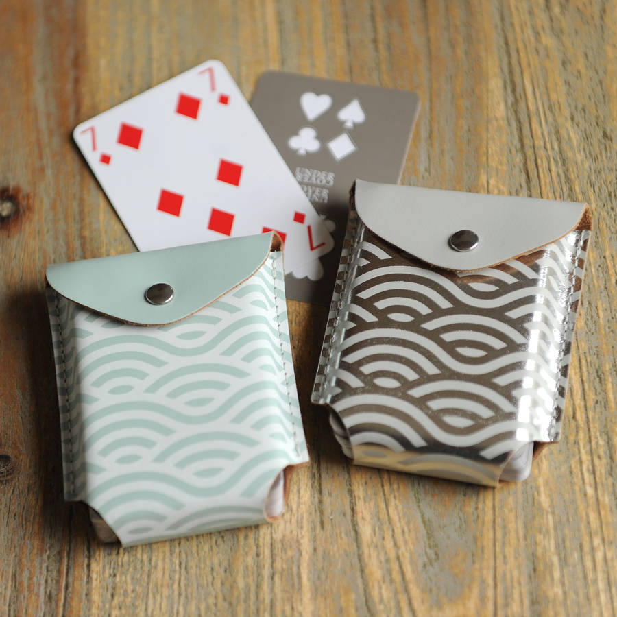 Wave Leather Playing Card Case With Playing Cards