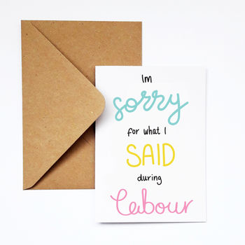 Funny Pregnancy Apology Card