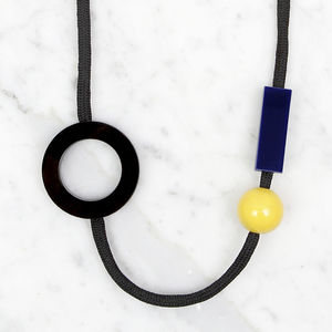 Open Circle Necklace // Dark Blue And Yellow