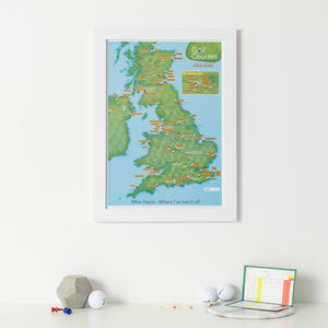 Personalised Scratch Off UK Golf Courses Print - gifts for golfers