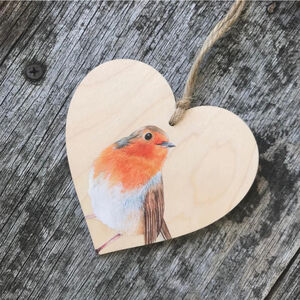 Robin Bird Wooden Hanging Heart Decoration