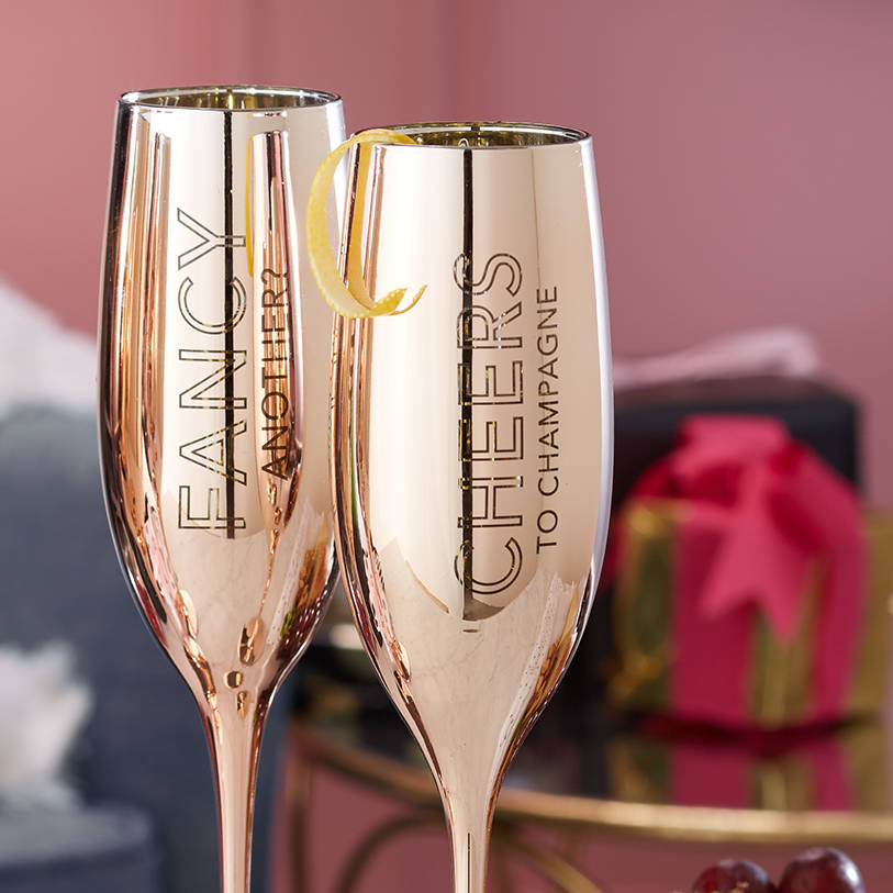 16 Rose Gold And Copper Details For Stylish Interior Decor: Gift Boxed Metallic Champagne Flute Set By Posh Totty