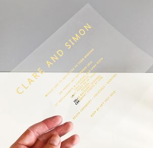 Clear And Gold Acetate Wedding Invitation