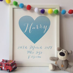 Personalised Baby Heart Print