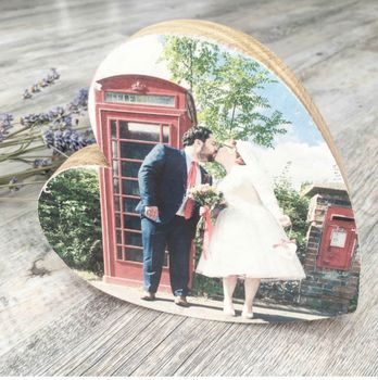 Solid Oak Personalised Heart Photo Block