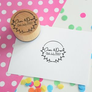 Laurel Wreath Personalised Couple Stamp