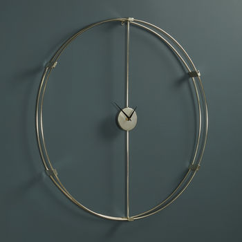 Large Silver Circle Wall Clock