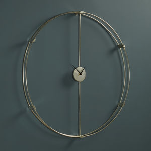 Large Silver Circle Wall Clock - office & study