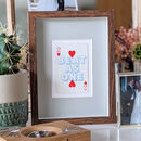 Two Hearts Beat As One Vintage Playing Card Print