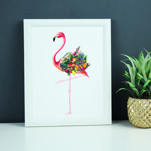 Personalised Fruity Flamingo Illustration Print - paintings