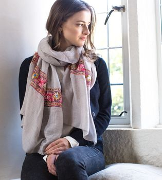 Personalised Soft Grey Scarf With An Embroidered Panel