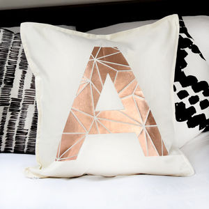 Personalised Metallic Initial Letter Cushions - copper gifts