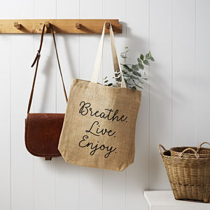 Breathe, Live, Enjoy Jute Shopping Bag - gifts for her