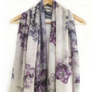 Grey Floral Hydrangea Scarf With Gift Box And Card