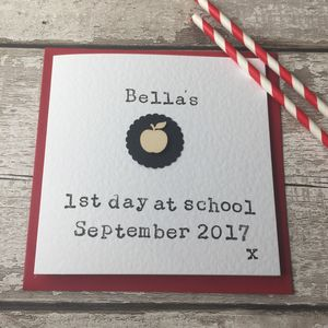 Personalised First Day At School Apple Card