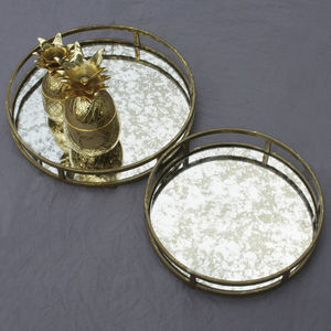 Antiqued Gold Decorative Bar Trays
