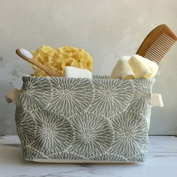 Grey Flower Storage Basket