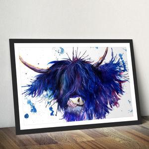 Splatter Highland Cow Watercolour Fine Art Giclée Print - animals & wildlife