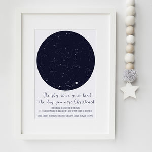 Christening Gifts Girls Boys Star Constellation Print - nature & landscape