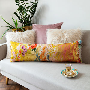Yellow Silk Bolster Cushion Upcycled Kimono - living room