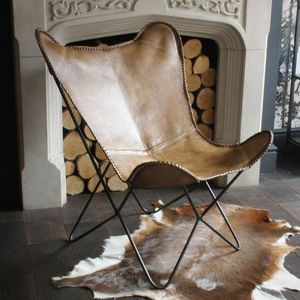 Natural Leather Butterfly Chair - furniture