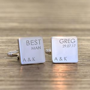Personalised Silver Plated Wedding Role Cufflinks - mens