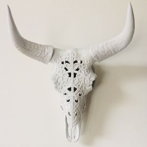 Filigree Faux Skull With Horns