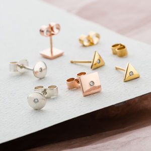 Diamond Geometric Stud Earrings - earrings
