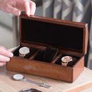 Personalised Leather Watch Box Triple With Curved Lid