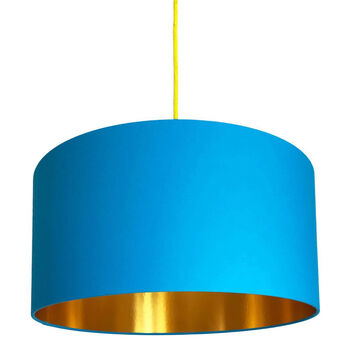 Topaz Blue Lampshades With Gold Lining