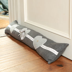'With Love' French Grey Draught Excluder - living room
