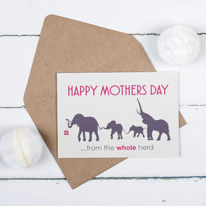 Personalised 'From The Herd' Elephant Mother's Day Card - whatsnew