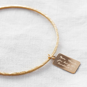 Personalised Tiny Tag Message Bangle - monogram & script