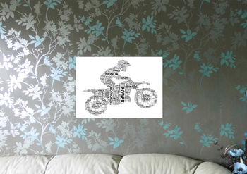 Motocross Motorbike And Rider Personalised Print