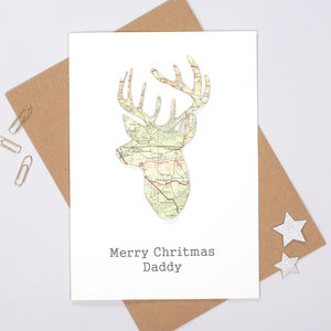 Personalised Map Location Stag's Head Christmas Card - personalised cards