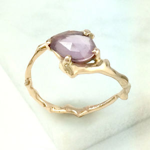 Rose Cut Plum Sapphire Twig Statement Ring - rings