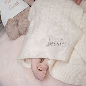 Personalised Cable Knit Cashmere Baby Blanket