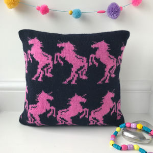 Knitted Lambswool Unicorn Cushion - unicorns