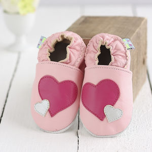Hearts Soft Leather Baby Shoes - first valentine's day