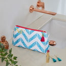 Personalised Blue Chevron Waterproof Makeup Bag