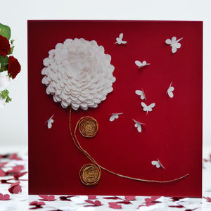 Chrysanthemum Butterfly Blank Card - wedding cards