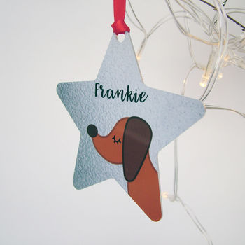 Dachshund Silver Printed Christmas Decoration