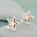 Personalised Rose Gold And Silver Star Stud Earrings