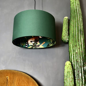 Teal Lemur Wallpaper Lampshade In Hunter Green - lampshades